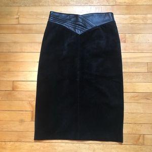 Vintage 80/90s Black Suede Pencil Skirt